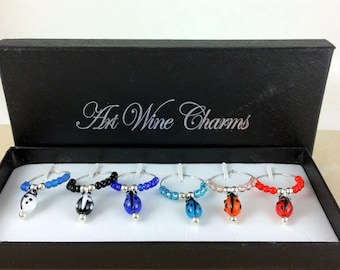Wine Glass Charms, LadyBug Wine Charms, Wine Lover Gift, Wine Charms, Wine Gift,  BFF Gift, Red Ladybugs, Ladybug charms, Ladybug lover gift