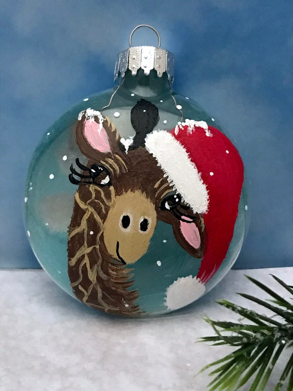 Giraffe Christmas Ornament, Hand Painted Christmas Giraffe, Glass ornament, Christmas Ornaments, Safari Ornament,