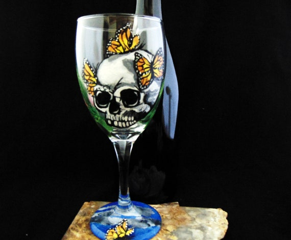 Sugar Skull wine glasses, Día de los Muertos, Day of the Dead wine glasses, Halloween Party Idea, Halloween wine glasses,