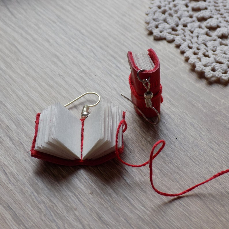 Miniature book charm jewelry Dark academia jewelry Book lovers teacher writer gift Cottagecore books Scarlet leather tiny book earrings