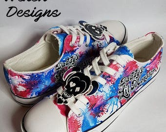 67e6a5b6b60bf3 Custom made Harley Quinn Converse style shoes (Dr Harleen Quinzel Dc Suicide  squad Villain Comic Book)