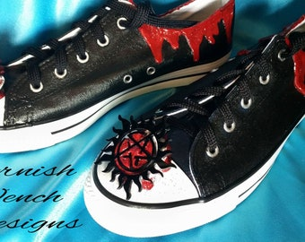 604e480a536 SALE      Custom made SPN Anti-Possession Converse style shoes size 5