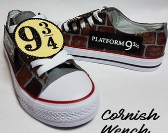 Custom made Harry potter inspired Converse style shoes. Platform 9 3/4, Wizard, Hogwarts