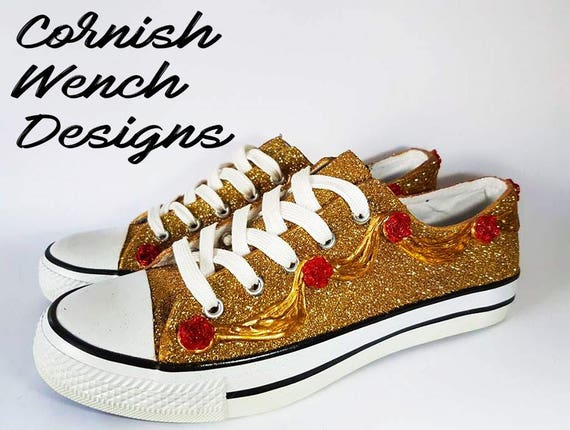 ca41d5d5bfb2a5 Beauty and the Beast Belle Gold glitter Low top Converse style