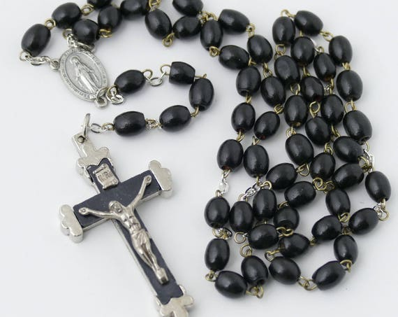 Black Wood Bead Rosary Necklace Great for Men