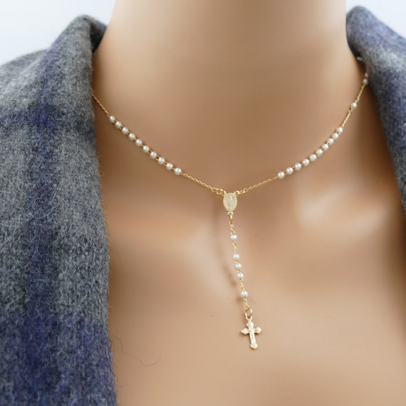 Rosary Necklace Rosary Cross Necklace Gold Rosary Catholic Rosary Silver Rosary gold necklace gold rosary necklace necklace pearl necklace