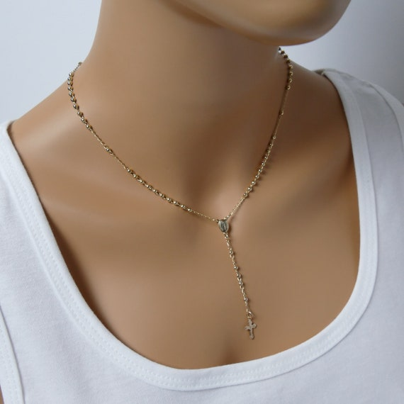 Rosary Necklace Rosary Cross Necklace Gold rosary catholic rosary gold necklace gold rosary necklace necklace first communion gold rosaries
