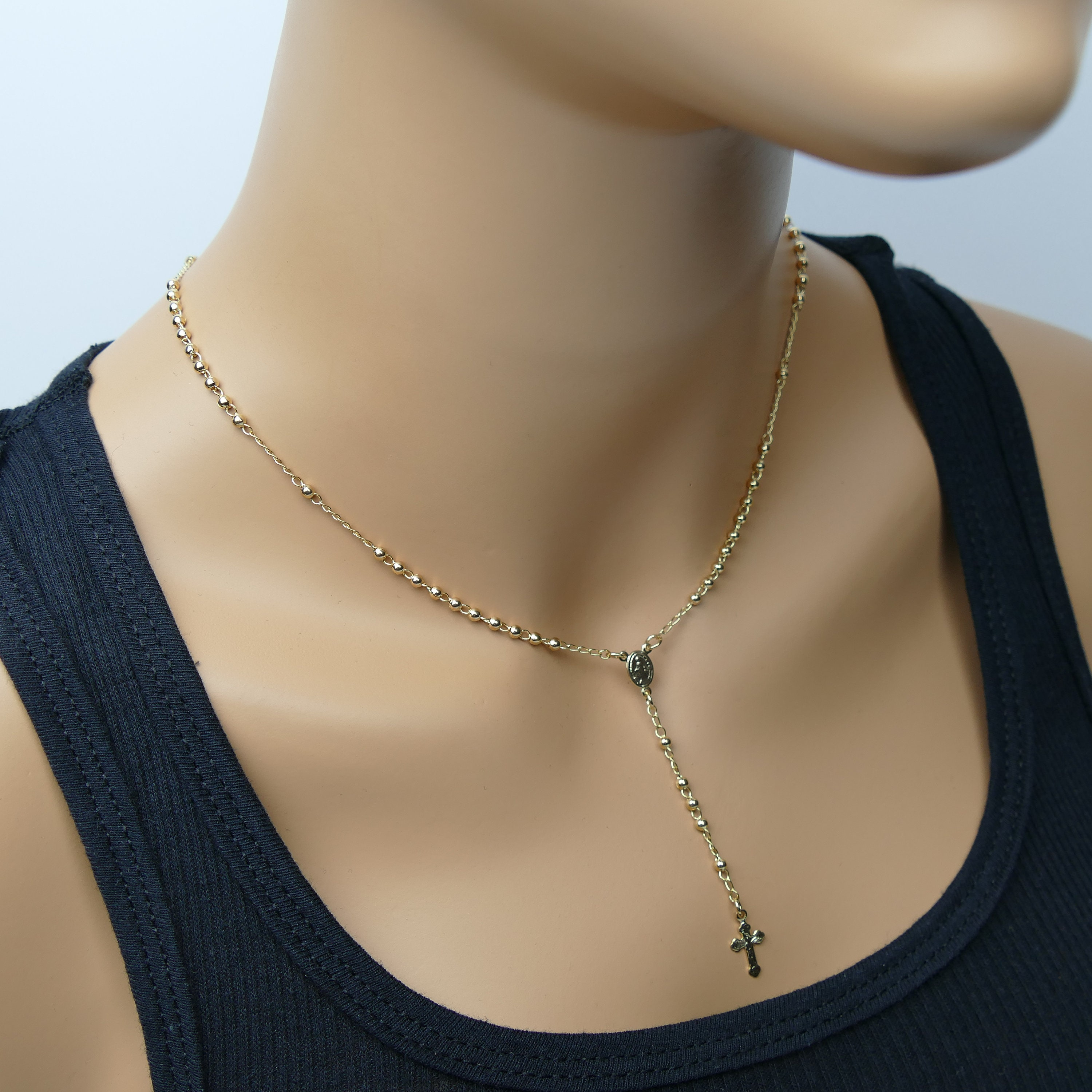 afe70d7b7a119 Rosary Necklace Rosary Cross Necklace Catholic Rosary gold rosary ...