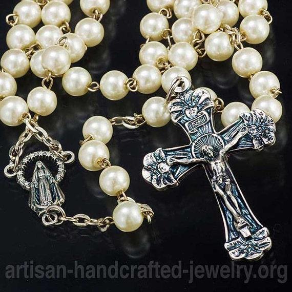 Pearl Rosary catholic rosary rosary rosary necklace handmade rosary prayer beads pearl rosary chain rosary beads first communion catholic