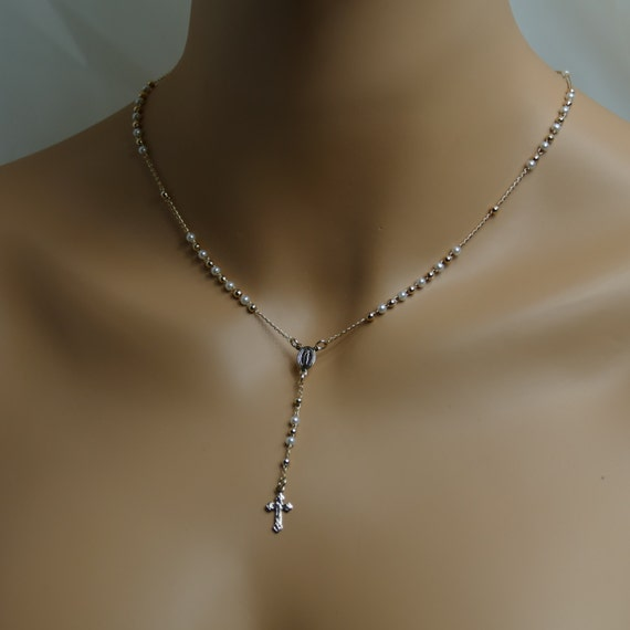 Gold And Pearl Little Rosary Necklace. Interspersed Gold and Pearl Beads, Great Gift For Her Gold Filled Necklace