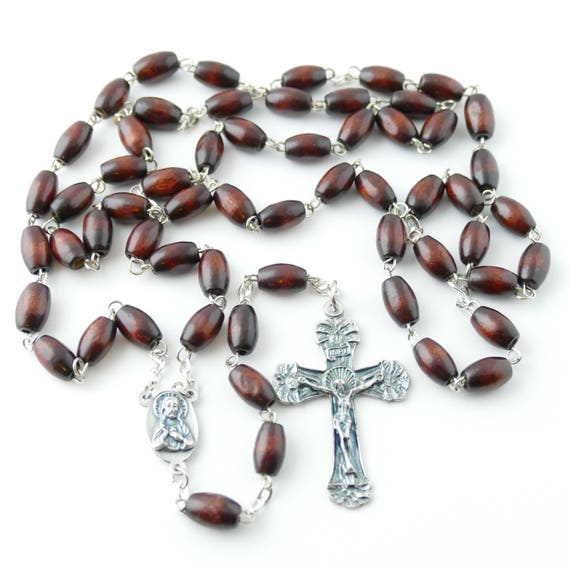 Red Wood Bead Rosary Great For Men Necklace Rosary For Men Mens Rosary Rosary Necklace Rosary