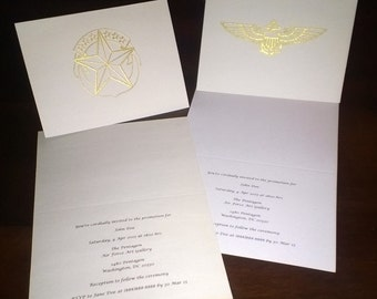 Custom Folded US Navy Military Invitations Announcements Save The Date W Rank Or Wings Set Of 20
