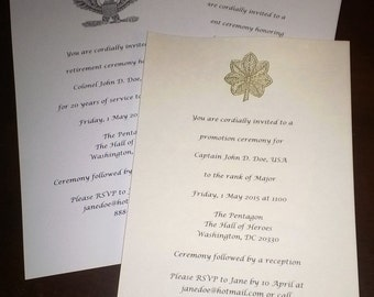 Custom Flat US Army Military Invitations Announcements Save The Date W Rank Set Of 25