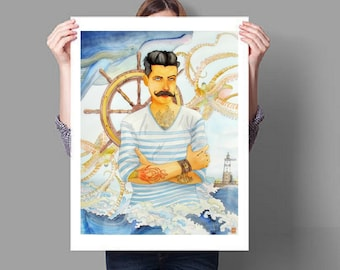 Fisherman. Original watercolor. Unique artwork handmade.
