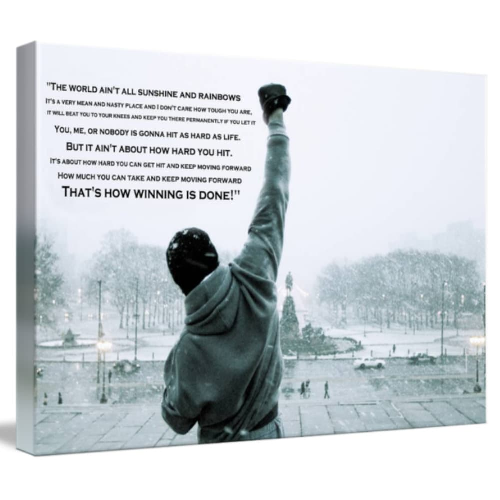 Rocky Balboa Training  believing yourself  PRINT ON FRAMED CANVAS WALL ART Decor