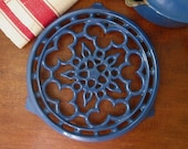 Le Creuset French enamel iron trivet french marseille blue pretty and practical in any kitchen french charm