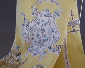 Suzanne Meister tea towel  adorable french style yellow blue white linen