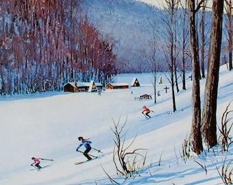 SKI PRINT, Ski Art, Ski Poster, Ski Decor, Downhill Skiing, Snow Ski, Vintage Ski Print, Downhill Skier, Skier Gift, Winter Sports, Ski Gift