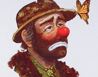EMMETT KELLY, Clown Art, Clown Print, Wall Art, Butterfly, Clown Poster, Sad Clown, Clown Decor, Vintage Clown, Circus, W. Harold Hancock