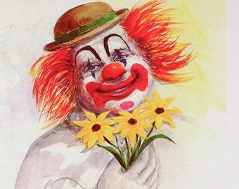 CLOWN ART, Clowns, Clown Print, Clown Poster, Smiling Clown, Clown with Flowers, Happy Clown, Clown Decor, Clown Wall Art, Home Decor, Cute