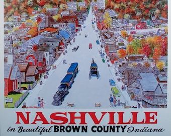 NASHVILLE INDIANA, Travel Poster, Brown County, Indiana, Home Decor, Dorm Room, Art Print, Posters, Wall Art, Wall Decor, Gift for Him
