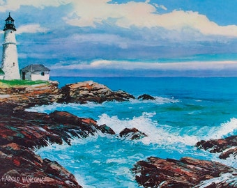 LIGHTHOUSE PRINT, Maine Lighthouse, Portland Head Light, Ocean Wall Decor, Lighthouse Poster, Coastal Wall Art, Art Print, Nautical Decor