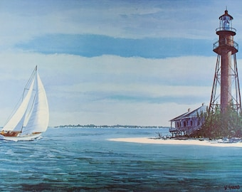 SANIBEL ISLAND, Vintage Florida, Art Print, Sailing, Sailboat Art, Sailboats, Beach Decor, Nautical Decor, Lighthouse, Coastal Wall Art