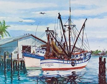 BOATS, Art Print, Wall Art, Ft Myers, Florida, Wall Decor, Shrimp Boats, Harbor, Vintage, Poster, Nautical, Florida Print, W. Harold Hancock