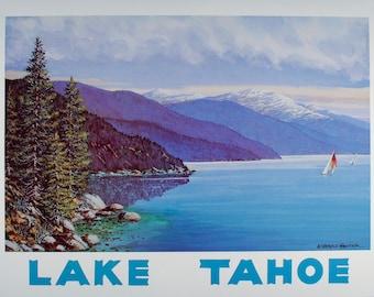 TRAVEL POSTER, Lake Tahoe Art, Poster, Wall Art, Lake Tahoe, Lake Tahoe Poster, Beach Decor, Lake Tahoe Print, Art Print, Lake House Decor