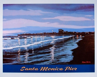 SANTA MONICA, Poster, Santa Monica Pier, Travel Poster, California, Beach Decor, Art Print, Beach Print, Ocean Print, Wall Art, Dorm Room