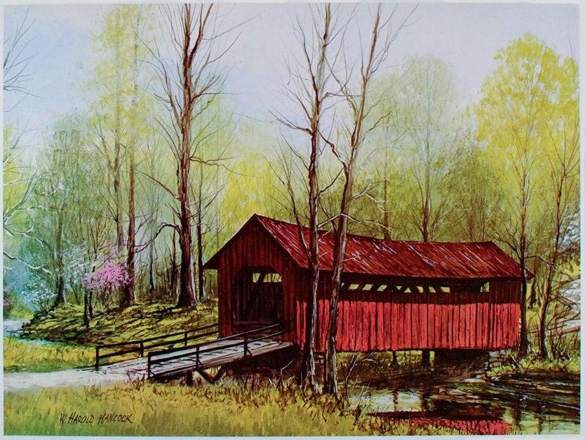 Vintage Hand Colored Covered Bridge Print #3