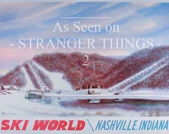 STRANGER THINGS, Ski World, Poster, Skiing Decor, Ski Wall Decor, Ski Lodge Decor, Ski Resort, Ski Lodge Art, Skiing, Ski Wall Art, Prints