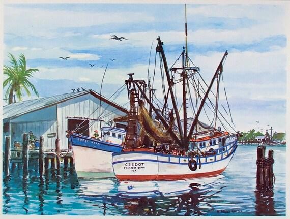 HAROLD HANCOCK LARGE Vintage SHRIMP BOATS Art Print FLORIDA Fort Myers Harbor W