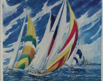 SAILBOATS, Art Prints, Seascape, Wall Art, Wall Decor, Beach Decor, Water, Nautical Decor, Sailing, Sailing Art Print, Serigraph, Ocean Art