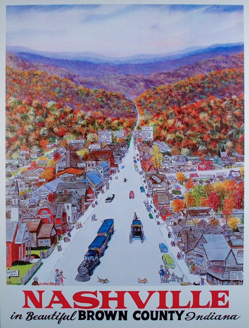 NASHVILLE INDIANA Travel Poster Brown County Indiana Home image 0