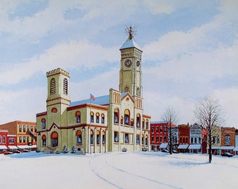 COURTHOUSE POSTER, Indiana Courthouse, Harold Hancock, Wall Art, Art Print, Signed, Numbered, Home Decor, Wall Decor, Gift for Him, Snow