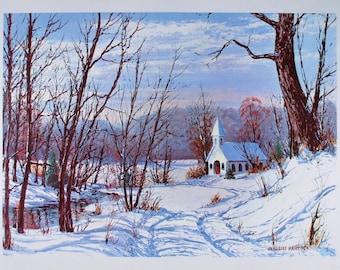 WINTER LANDSCAPE, Art Print, Country, Cabin Decor, Rustic, Church, Home Decor, Farmhouse Decor, Gift, Wall Art, Vintage, W. Harold Hancock