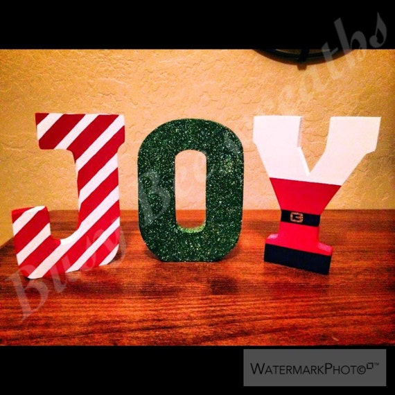 Joy Wooden Letters Christmas Decorations Wood Letters Santa Clause Elf Holiday Letters Peppermint Glitter Letters Joy Nusery