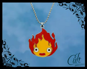 Studio Ghibli sterling silver / faux leather necklace with Calcifer charm. Howl's Moving Castle