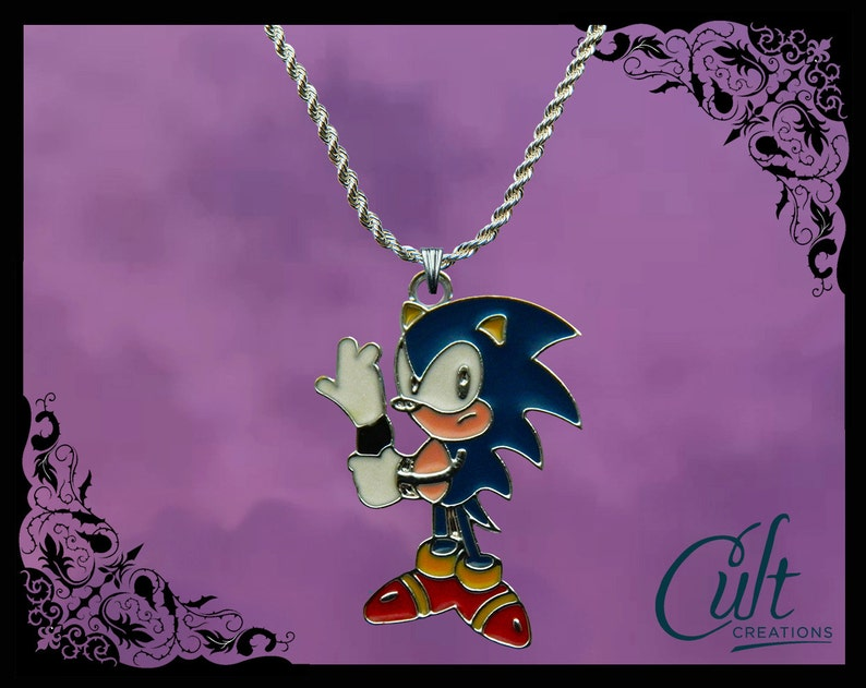 22 INCH  CHAIN SONIC THE HEDGE HOG  PENDANT WITH GIFT BOXED 18 20