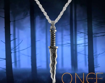 Once Upon A Time Rumpelstiltskin, Belle silver necklace with Dark One Dagger  Free UK Post