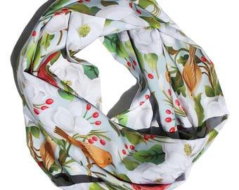 "Silk Scarf, Infinity scarf, 52"" circumference, ""Magnolia/Birds"""