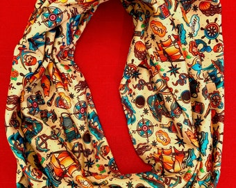 """Ship Ahoy infinity scarf of modern jersey fabric 56"""" circumference 8"""" width"""