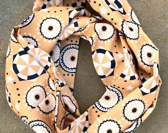 "Silk Scarf, Infinity scarf, 52"" circumference- ""Classic Geometric"""