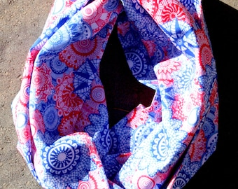 Red, White & Blue Mandala- Silk Infinity Scarf