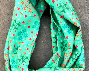 """Silk Infinity Scarf- """"Celebration in Green"""" 52"""" circumference"""