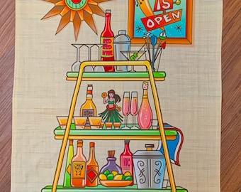 """Bar Is Open- Bar Towel Linen Cotton Canvas 16""""x25"""""""