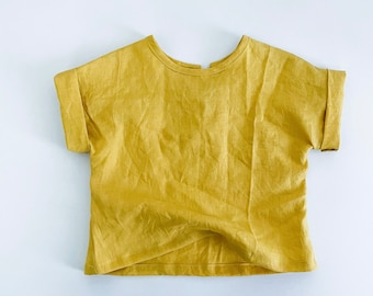 the mini Kelly tee - a Kids Loose fit Linen Tee - boxy T shirt top