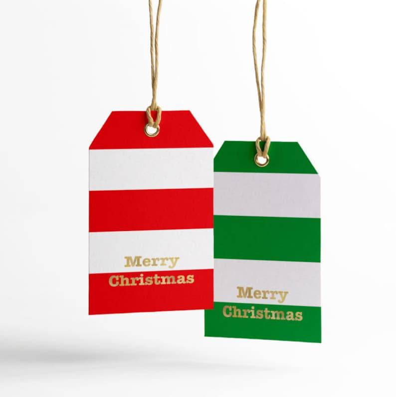Printable Gift Tags Merry Christmas Gold Foil Red Stripes Merry Christmas Gift Tags Green Stripes