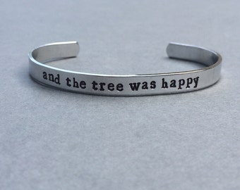 And The Tree Was Happy / Literary Gift / Book Lover Gift / Bookish Gift / Gift For Her / Bookworm Bracelet / Book Nerd / Personalized Gift